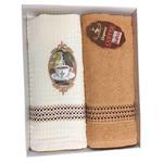 Komplet kuchenny Premium Coffee karmelowy kawa 1 ręczniczek 1 ściereczka 50x70 2 cz. T31015/A w sklepie internetowym Karo.waw.pl
