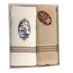 Komplet kuchenny Premium Coffee beżowy jasny kakao 1 ręczniczek 1 ściereczka 50x70 2 cz. T31015-B w sklepie internetowym Karo.waw.pl