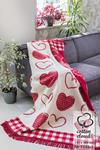 Koc bawełniano-akrylowy 150x200 1123/1 serca serduszka kratka czerwony kremowy w sklepie internetowym Karo.waw.pl