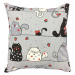 Poszewka bawełniana 70x80 1237E szara koty myszki serca krawaty czerwone 17a w sklepie internetowym Karo.waw.pl