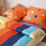 Pościel satynowa 200x220 wzór 17538/1 kolorowa paski grochy Andropol w sklepie internetowym Karo.waw.pl