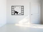 naklejka dekoracyjna kot w oknie i ptaki1 kot w oknie naklejka na ścianę w sklepie internetowym Naklej-To