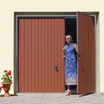 RĘCZNA BRAMA GARAŻOWA WIŚNIOWSKI KOMFORT z drzwiami, kolory drewnopodobne, ocieplona w sklepie internetowym dd-company.pl