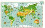 Tekturowe puzzle budowle świata 200 el. - mapa świata budowle i zwierzęta, DJECO w sklepie internetowym MądreSzkraby