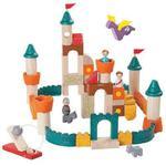 Drewniane klocki ZAMEK - klocki fantazyjne zestaw: król, królowa, smok i inne akcesoria, Plan Toys w sklepie internetowym MądreSzkraby