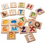 Drewniane literki do nauki dla dzieci - litery wraz z obrazkami, pierwsze słowa, Plan Toys w sklepie internetowym MądreSzkraby