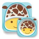 Zestaw jedzeniowy dla dzieci talerz dzielony + miska - naczynia dla maluchów Zoo Żyrafa, SKIP HOP - Zoo Żyrafa w sklepie internetowym MądreSzkraby