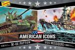 Modele plastikowe - WWII Adversaries (M-46 Patton Tank & U.S.S. Missouri) 2 szt. - Lindberg w sklepie internetowym mix-hurt