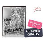 Srebrny obrazek - Anioł Stróż - Prezent dla Dziecka: Chrzest, Komunia, Rocznica-GRAWER w sklepie internetowym AnKa Biżuteria