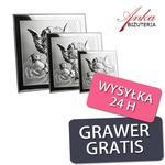 PAMIĄTKA CHRZTU - Obrazek Srebrny z Aniołkami -3 rozmiary w sklepie internetowym AnKa Biżuteria