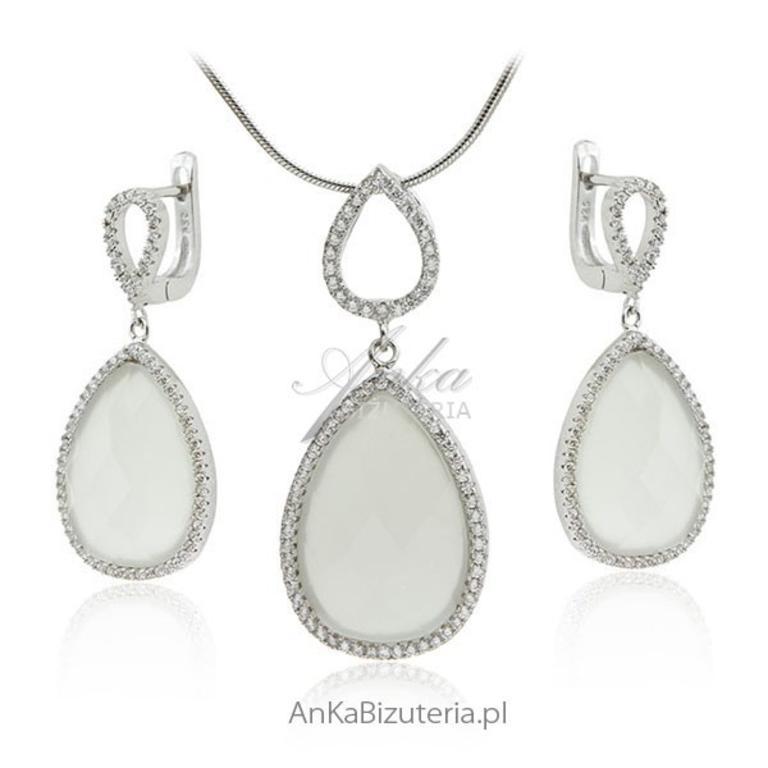 d5aa7070d989 Biżuteria ślubna   Komplet biżuterii z białymi kamieniami w sklepie  internetowym AnKa Biżuteria. Powiększ zdjęcie
