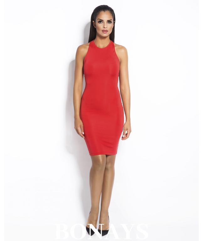 a9cf70d557 Dopasowana sukienka z odkrytymi plecami SITRU - czerwona 084-Czerwony  084-Czerwony