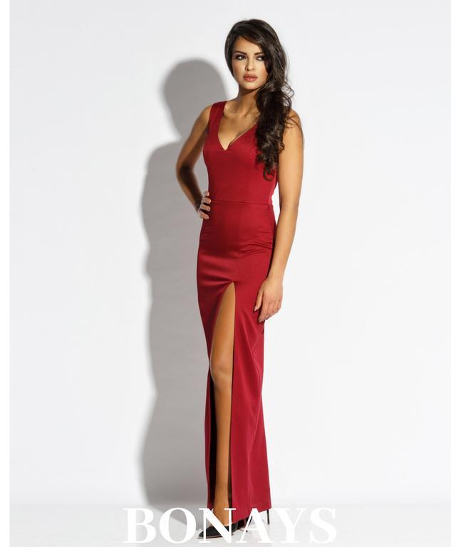 835b25c329 Długa dopasowana suknia z dekoltem Bella - bordowa 120-Bordowy 120-Bordowy