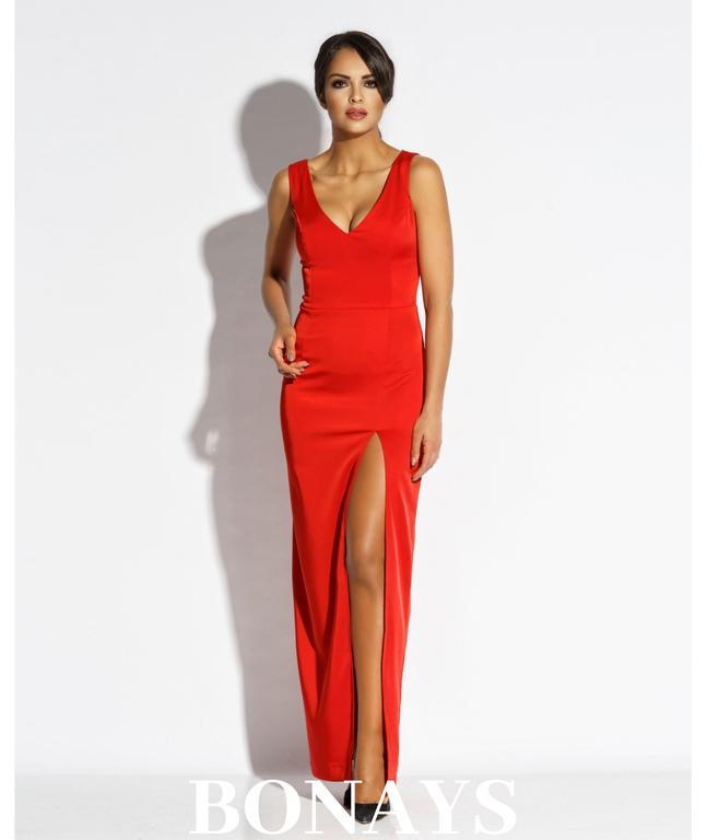 7389f34815 Długa dopasowana suknia z dekoltem Bella - czerwona 120-Czerwony  120-Czerwony