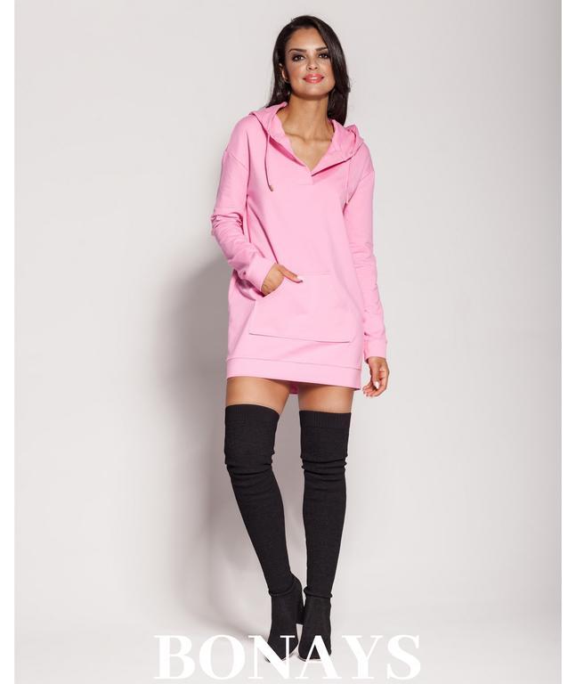 c2bd05ddee Długa bluza z kapturem i kangurkiem - różowa PINO 139-Różowy 139-Różowy