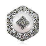 broszko wisior ,rodowane srebro 925 i macica perłowa w sklepie internetowym Jubiler.pl