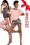 ZESTAW Piżama w kropeczki krótkie spodnie + Piżam mocca długie spodnie P-374/1+P373/1 w sklepie internetowym Ulubionabielizna.pl