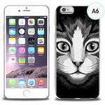 Etui silikonowe z nadrukiem iPhone 6 - czarno biały kot w sklepie internetowym 4kom.pl