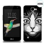 Etui silikonowe z nadrukiem LG K4 - czarno biały kot w sklepie internetowym 4kom.pl