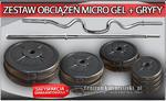 Zestaw obciążenie MICRO GEL + gryfy - 53kg (2x10kg + 2x5kg + 2x2.5kg + 4x1.25 kg + gryf łamany podwójnie + gryf prosty 167cm) w sklepie internetowym CentrumKulturystyki.pl