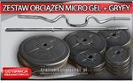 Zestaw obciążenie MICRO GEL + gryfy - 93kg (2x20kg + 2x10kg + 2x5kg + 2x2.5kg + 4x1.25 kg + gryf łamany podwójnie + gryf prosty 167cm) w sklepie internetowym CentrumKulturystyki.pl