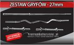 Zestaw gryfów - gryf łamany pojedynczo + gryf prosty 167cm + 2x gryfik 40cm w sklepie internetowym CentrumKulturystyki.pl