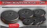 Zestaw obciążenie MICRO GEL + gryfy - 94kg (2x20kg + 2x10kg + 2x5kg + 4x2.5kg + gryf łamany podwójnie + gryf prosty 182cm) w sklepie internetowym CentrumKulturystyki.pl