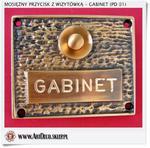 Mosiężna wizytówka z przyciskiem dzwonkowym do GABINETu (PD 01) w sklepie internetowym Artdeco.sklep.pl