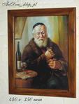 Duży obraz Żyda smakosza z buteleczką wina w sklepie internetowym Artdeco.sklep.pl