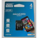 Karta pamięci Goodram Micro SDHC 4 GB class 4 + adapter // Wysyłka w 24h - Gwarancja dostępności / 20 lat najwyższej jakości w sklepie internetowym Awa24.pl