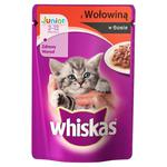 Whiskas Junior z wołowiną w sosie Karma pełnoporcjowa dla kociąt 2-12 miesięcy 100g w sklepie internetowym InternetowySupermarket.pl