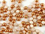 Szklany kaboszon Alabaster Coated Light Copper Pearl koło 4mm - 4 sztuki w sklepie internetowym Kadoro.pl