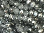 Szklane oponki fasetowane kryształowo-srebrne 6x4 mm - sznur w sklepie internetowym Kadoro.pl