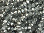 Szklane oponki fasetowane kryształowo-srebrne 4x3 mm - sznur w sklepie internetowym Kadoro.pl