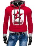 Bluza męska z kapturem czerwona (bx2296) - Czerwony w sklepie internetowym Dstreet.pl