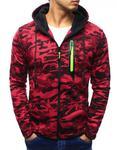 Bluza męska camo rozpinana czerwona z kapturem (bx3144) - Wielokolorowy w sklepie internetowym Dstreet.pl