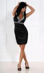 1203-1 Sukienka na ramiączkach z kamieni z lekko usztywnianymi miseczkami - czarny w sklepie internetowym LadyStyle