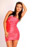 1001-7  Elegancka sukienka marszczona na jedno ramię z kamieniami - arbuzowy w sklepie internetowym LadyStyle