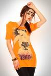 3329-5 Tunika z marszczonym rękawkiem i ozdobną aplikacją z przodu - pomarańczowy w sklepie internetowym LadyStyle