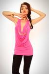 3407-1 Top z ozdobnym naszyjnikiem w kolorze złota - różowy w sklepie internetowym LadyStyle