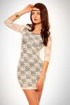 3101-3 Koronkowa sukienka z rękawem 3/4 - biała w sklepie internetowym LadyStyle