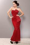 3705-2 Długa sukienka ze świecącego materiłu, typ syrenka - czerwony w sklepie internetowym LadyStyle
