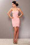 3702-1 Elegancka sukienka, marszczona, zakładana na jedno ramię z ozdobną różą - różowy w sklepie internetowym LadyStyle