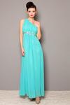 3805-2 Długa suknia tiulowa, zakładana na jedno ramię, z ozdobnymi srebrnymi kamieniami - zielony w sklepie internetowym LadyStyle