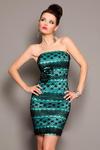 3802-3 Koronkowa sukienkowe zapinana na suwak, z ozdobnymi różyczkami - szmaragdowy w sklepie internetowym LadyStyle