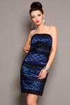 3802-2 Koronkowa sukienkowe zapinana na suwak, z ozdobnymi różyczkami - kobaltowy w sklepie internetowym LadyStyle