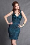 3002-4 Sukienka na ramiączkach z ozdobnymi kwiatkami na dekolcie  - morski w sklepie internetowym LadyStyle