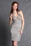 3002-3 Sukienka na ramiączkach z ozdobnymi kwiatkami na dekolcie  - brązowy w sklepie internetowym LadyStyle