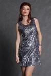 4106-2 Cekinowa sukienka na ramiączkach zapinana z tyłu na suwak z podszewką - srebrny w sklepie internetowym LadyStyle