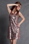 4106-1 Cekinowa sukienka na ramiączkach zapinana z tyłu na suwak z podszewką - miedziany w sklepie internetowym LadyStyle